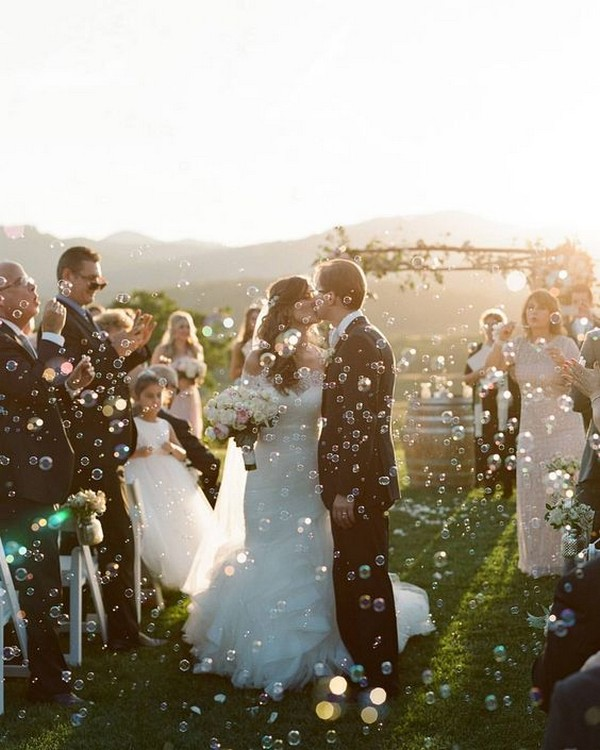 romantic bubbles wedding send off ideas