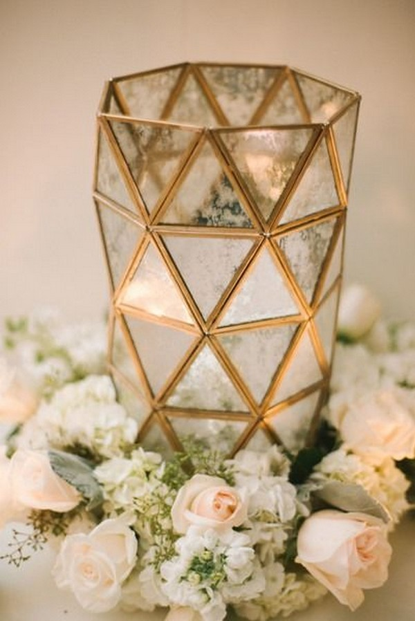 romantic geometric wedding centerpiece with flowers