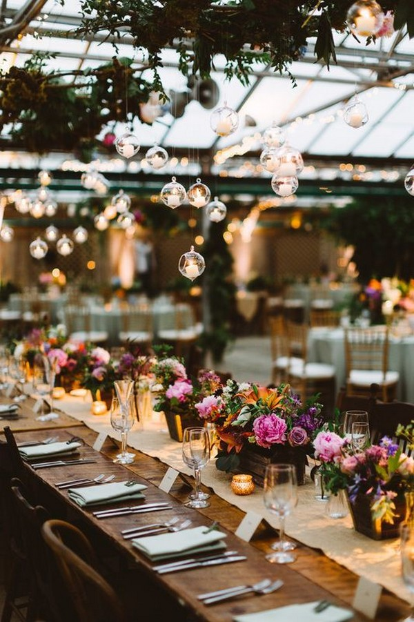 romantic wedding reception ideas with hanging candles