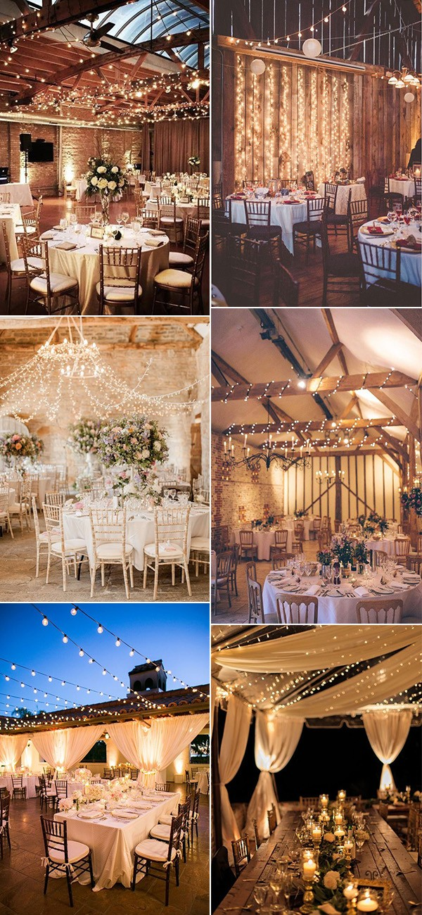 romantic wedding reception lighting decoration ideas