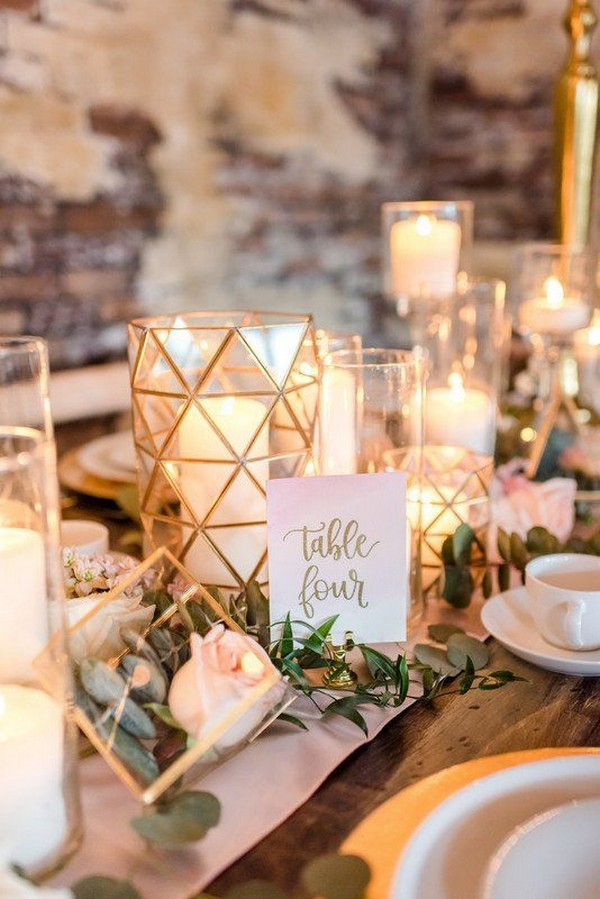 romantic wedding table setting ideas with geometric terrarium and candles