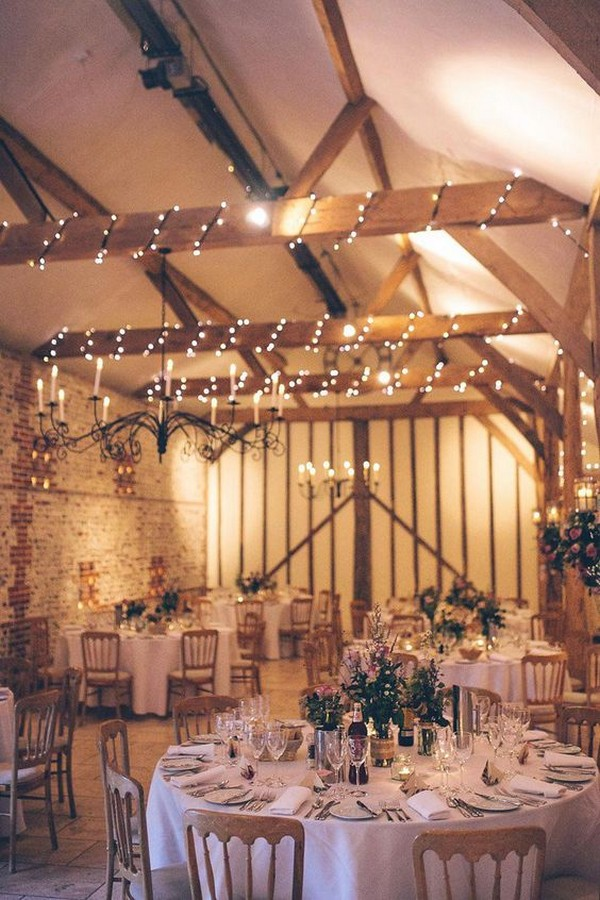 rustic barn wedding reception ideas with fairy lights