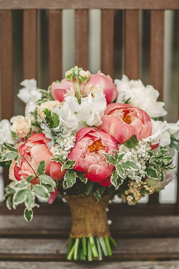 rustic chic coral wedding bouquet ideas