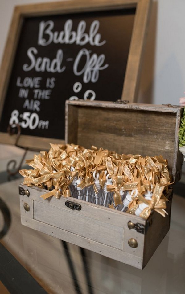 rustic wedding sign with bubbles send off