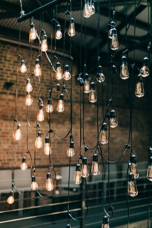 string lights for industrial wedding ideas