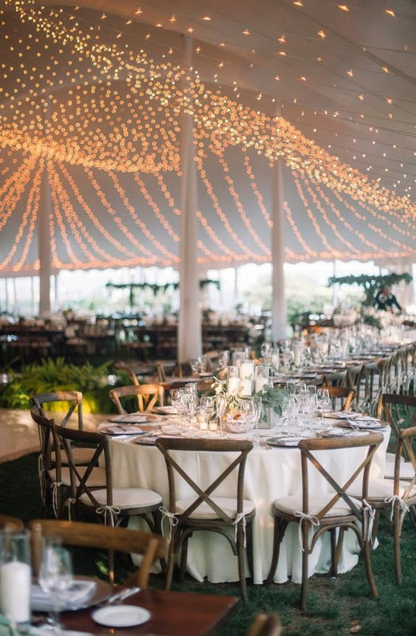 tented wedding reception ideas with string lights