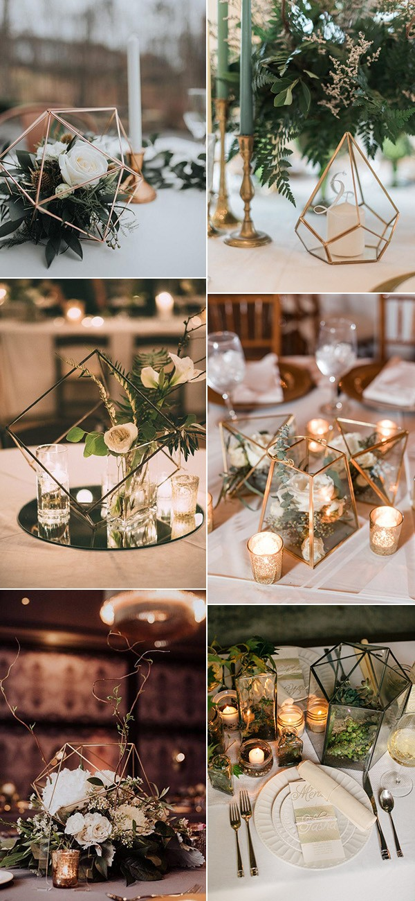 trending modern industrial geometric wedding centerpiece ideas