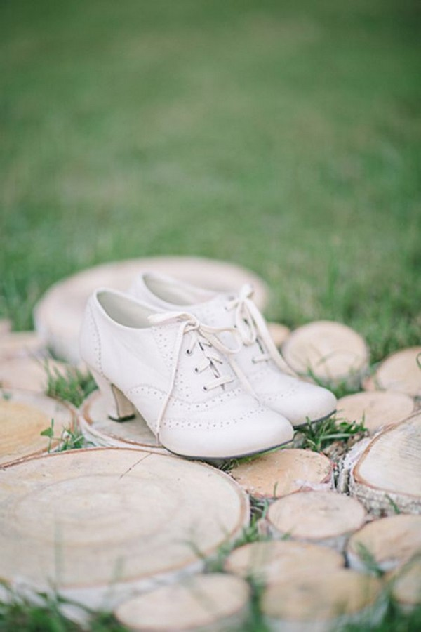 vintage low heel Oxford white wedding shoes