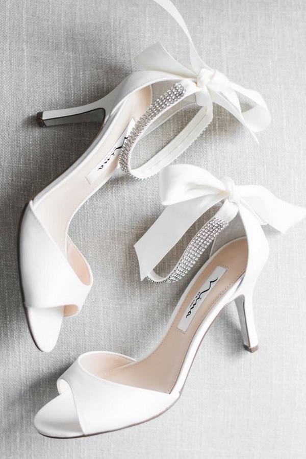 white peep toe low heel wedding shoes