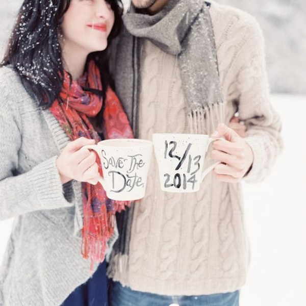winter wedding save the date photo ideas