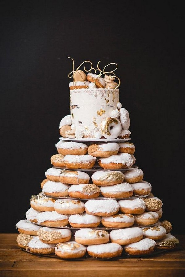 Gold and white donut stack with single tier wedding cake
