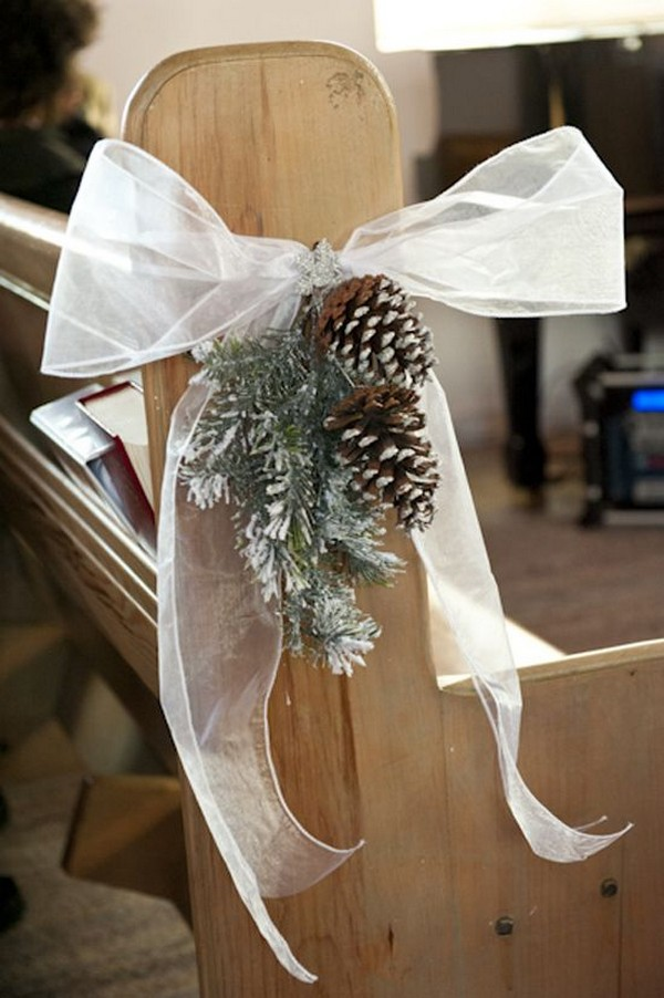 Pinecone and fir winter wedding aisle decor