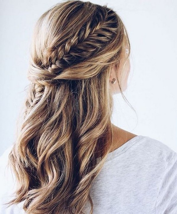 Plaited Bridal Hair Half Up Half Down Hairstyle
