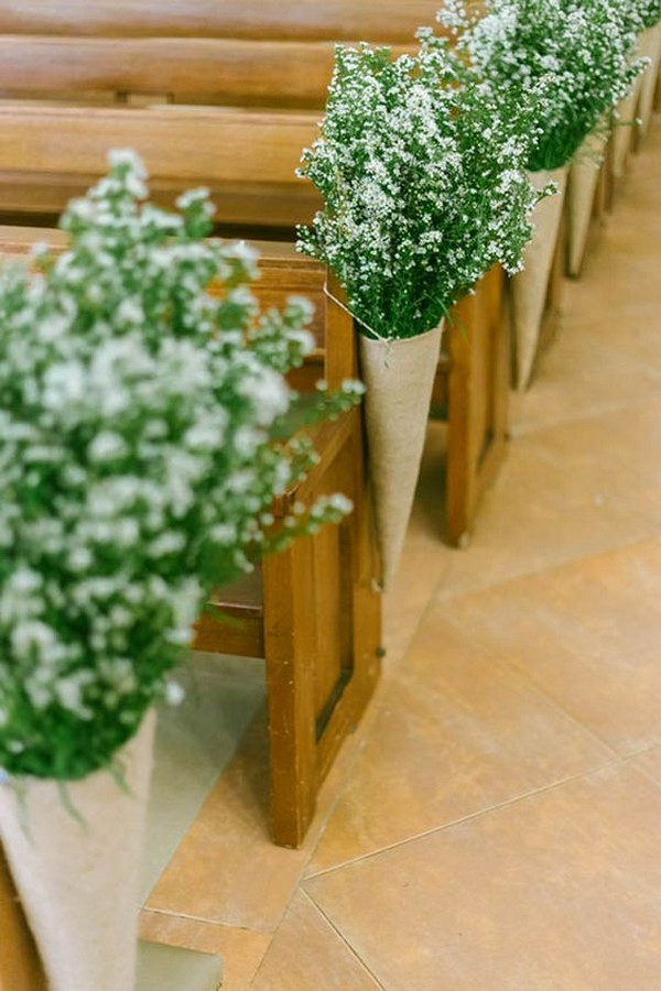 baby's breath church wedding aisle decoration ideas