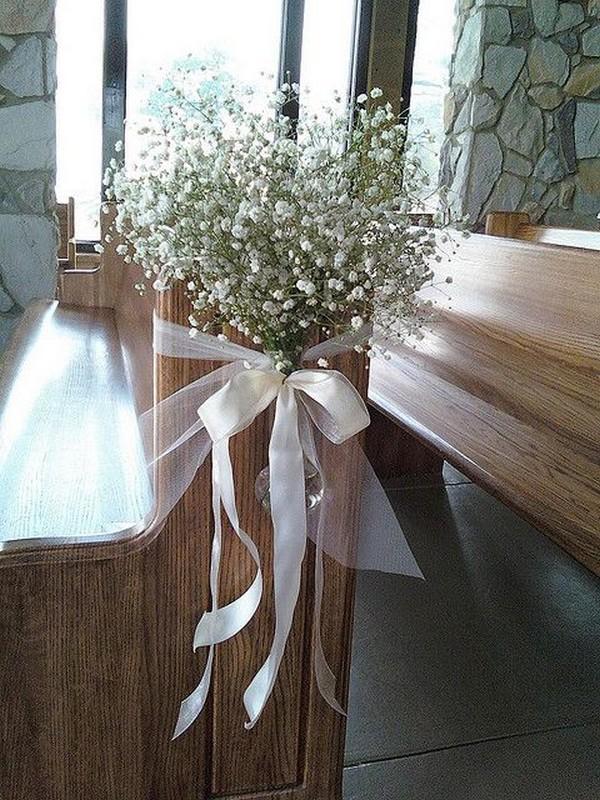 baby's breath church wedding aisle