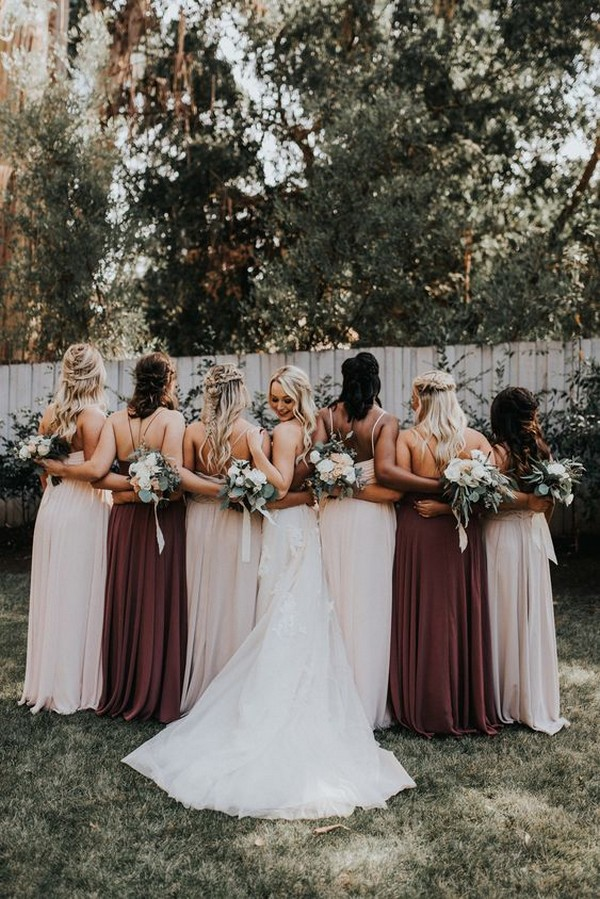 blush and burgundy mismatched bridesmaid dresses