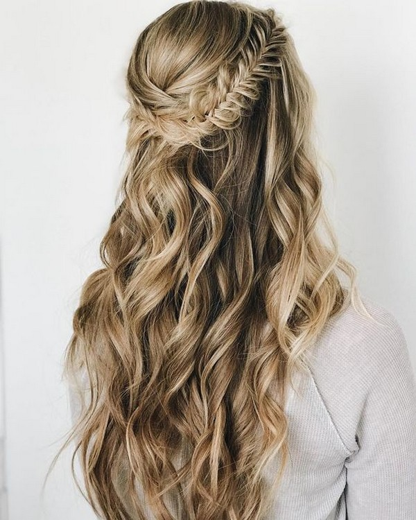 Wedding Hairstyles Up Half Up Down Straight With Braid: 20 Brilliant Half Up Half Down Wedding Hairstyles For 2019