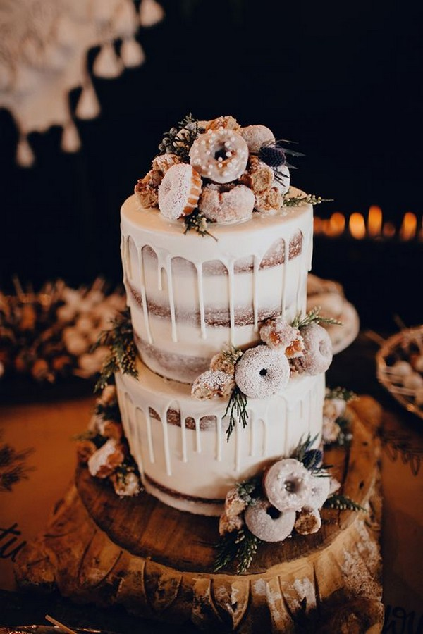 boho chic wedding cake with donuts on top and dripping icing
