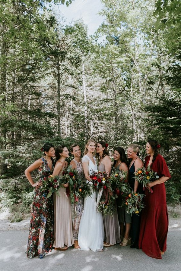 burgundy and taupe mismatched bridesmaid dresses for fall weddings
