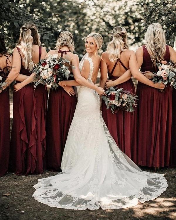 burgundy bridesmaid dresses wedding photo ideas