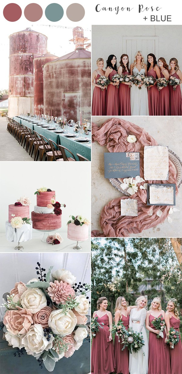 canyon rose and blue fall wedding colors
