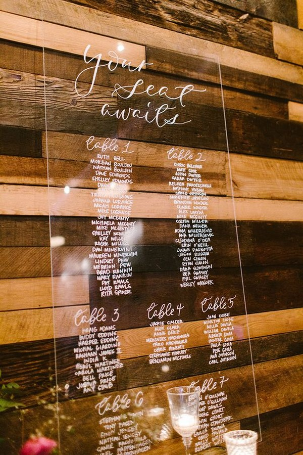 chic acrylic wedding seating chart ideas