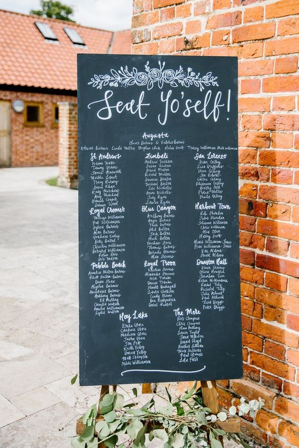 chic chalkboard seating plan sign ideas