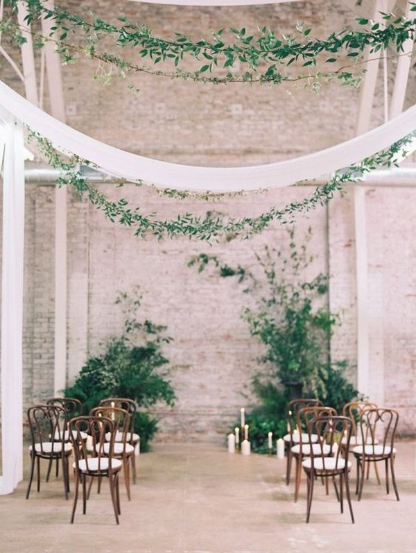chic greenery loft industrial wedding ceremony