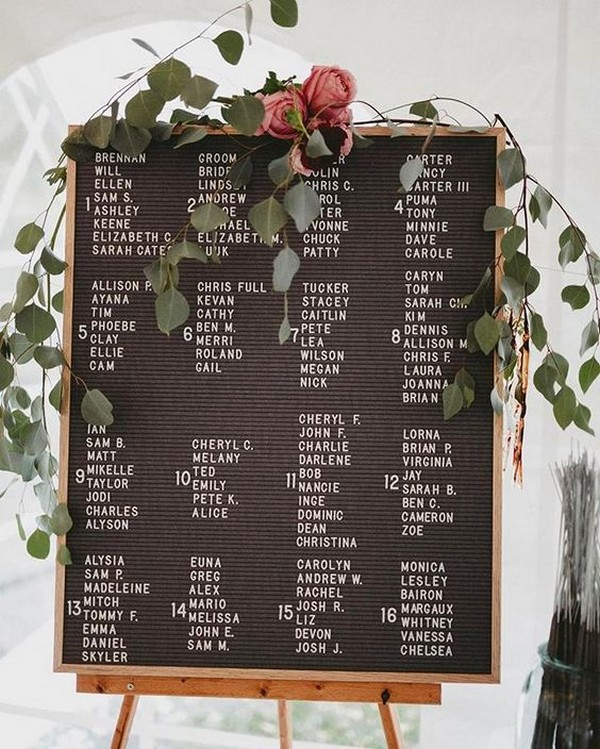 chic letterfolk wedding seating chart sign