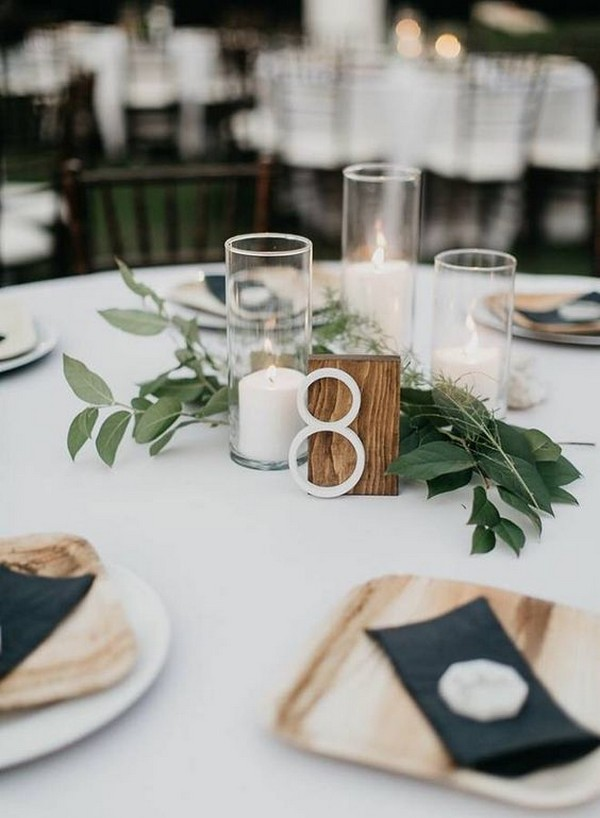 chic simple wedding centerpiece with candles