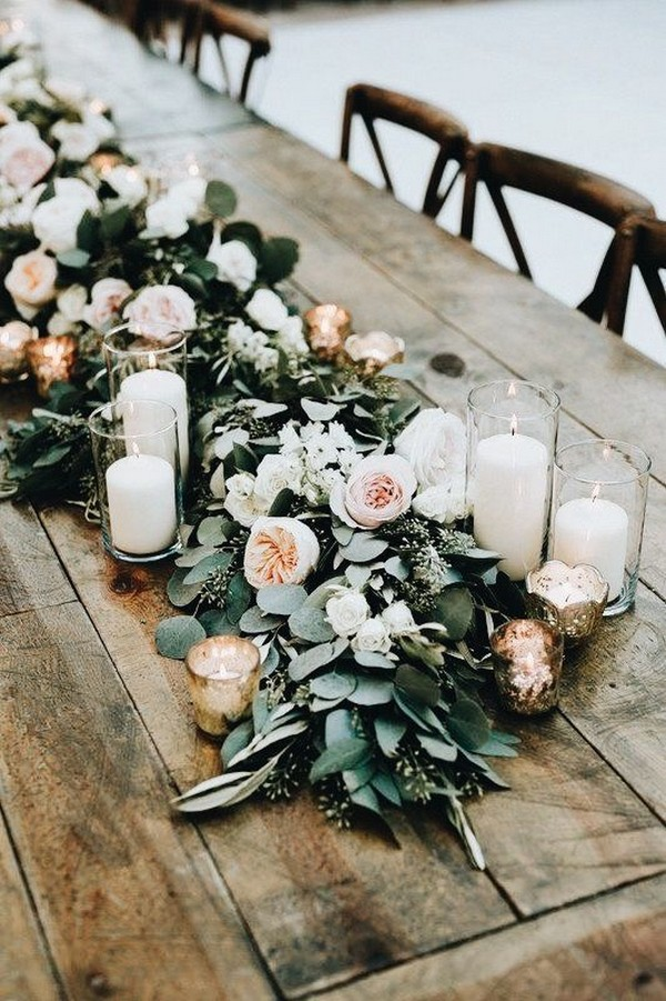chic wedding table runner ideas with candles and floral