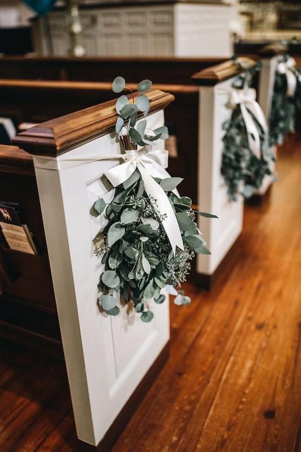 church pew wedding aisle decoration ideas with botanical and ribbon