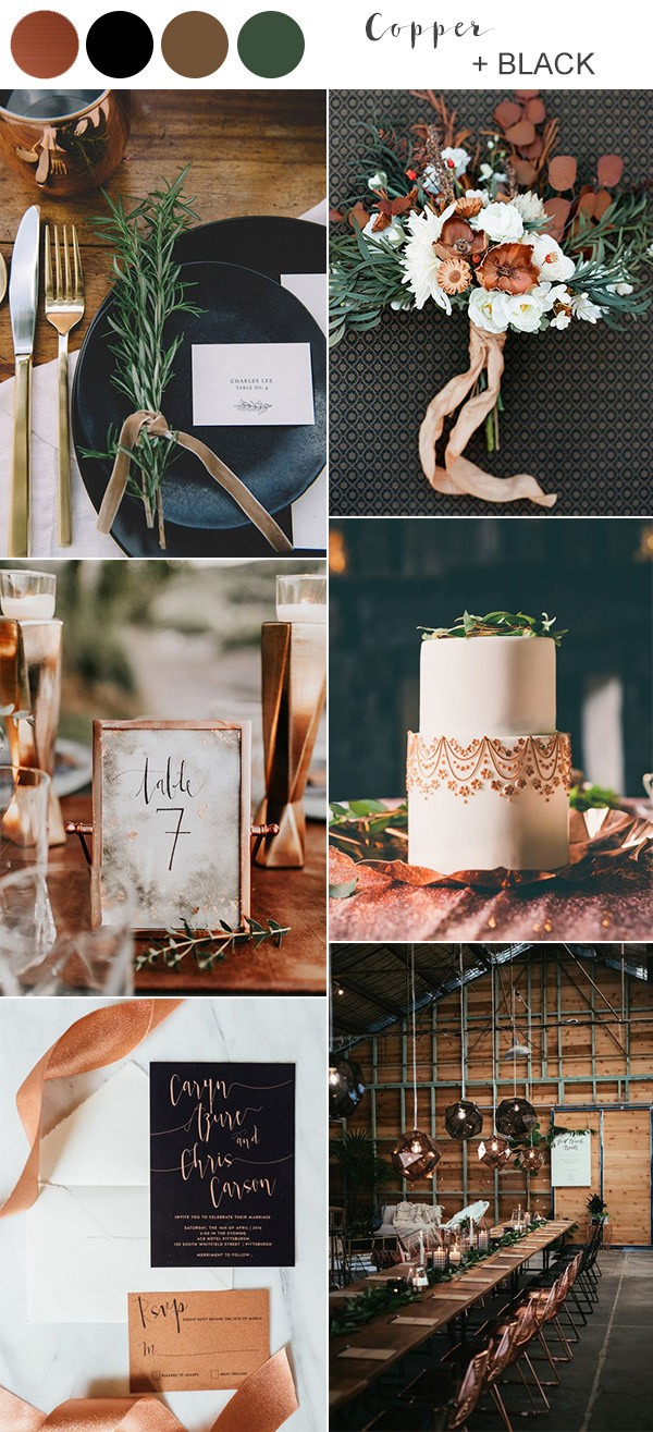 copper and black fall wedding color ideas