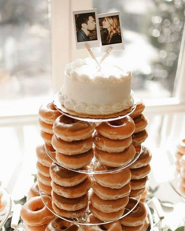 delicious wedding cake with donut tower