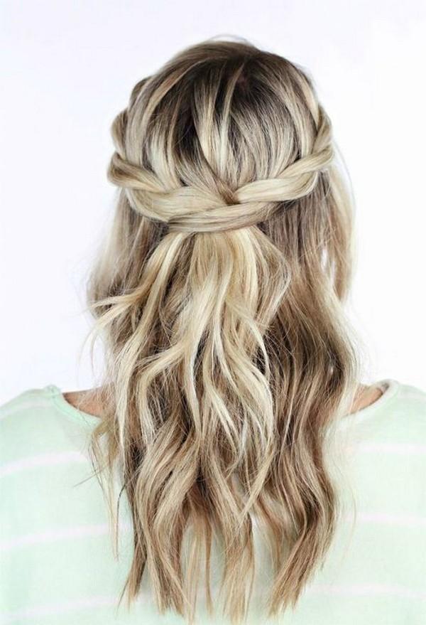 diy braided half up half down wedding hairstyle