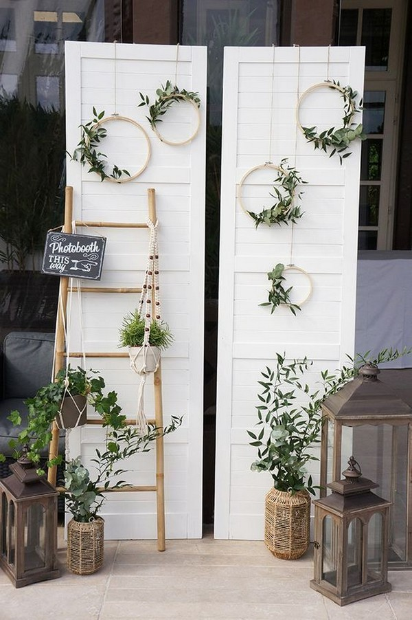 diy wedding photo booth backdrop with old doors