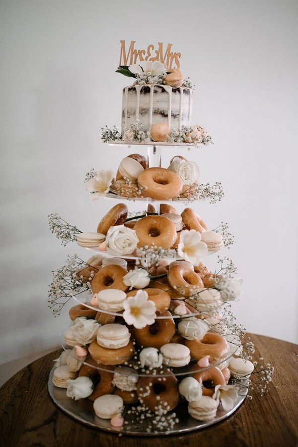 donut and macaron wedding cake ideas