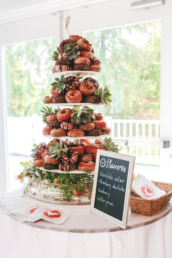 donuts tower wedding cake ideas with floral