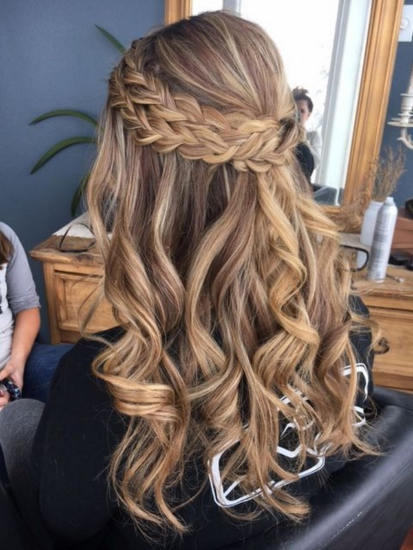 Double Visible Braid Half Up Half Down Wedding Hairstyle