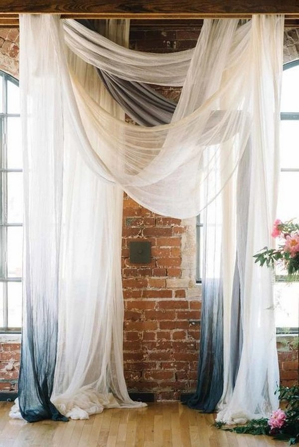 drapey wedding ceremony backdrop ideas for loft weddings