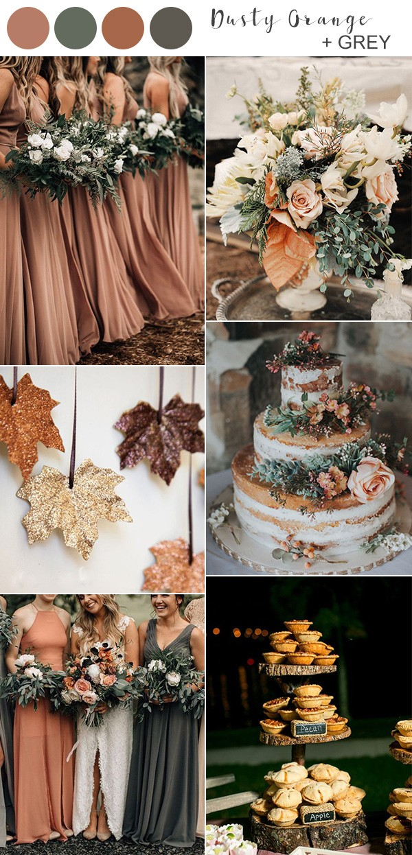 dusty orange and grey fall wedding color ideas