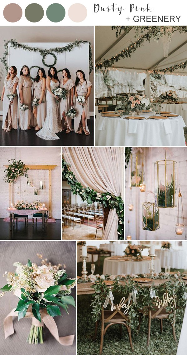 dusty pink and greenery wedding color ideas for 2019