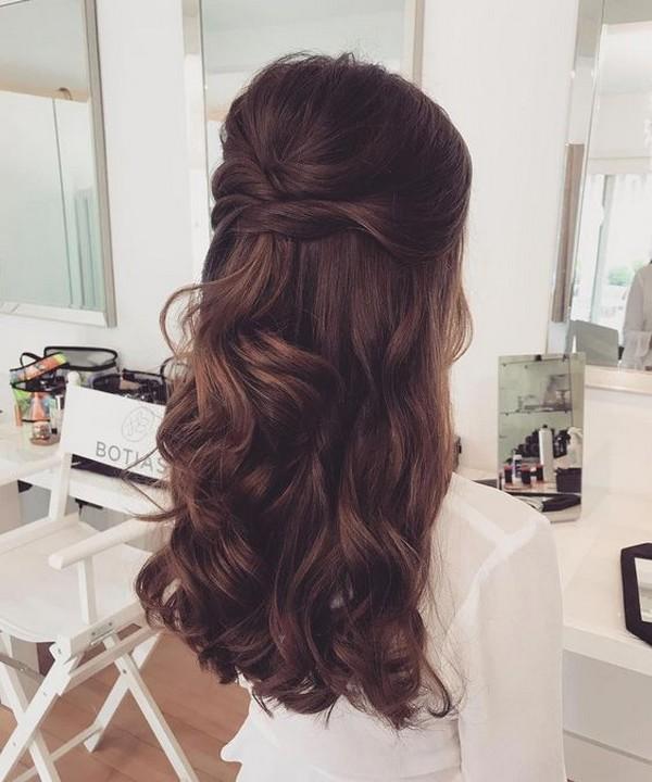elegant half up half down wedding hairstyle 2