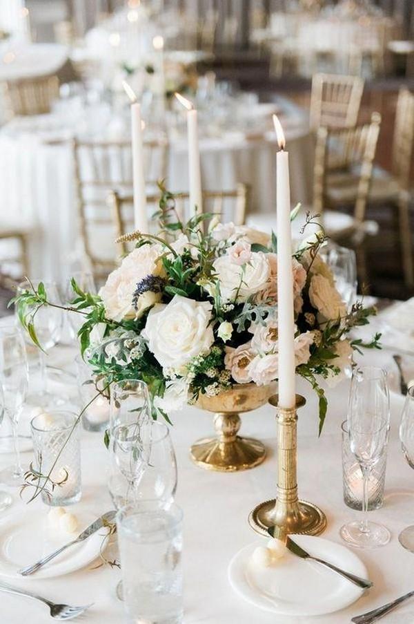 elegant wedding centerpiece ideas with white taper candles