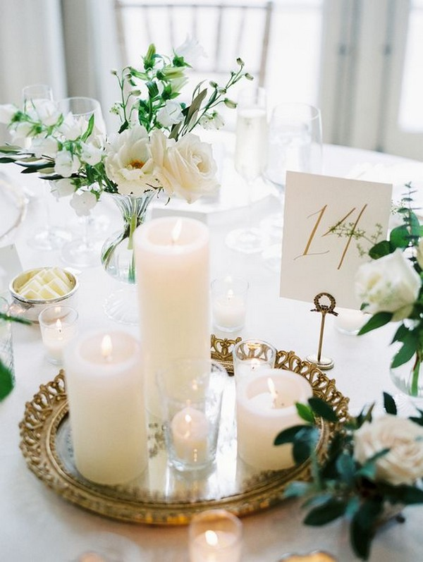 elegant wedding table settings with candles