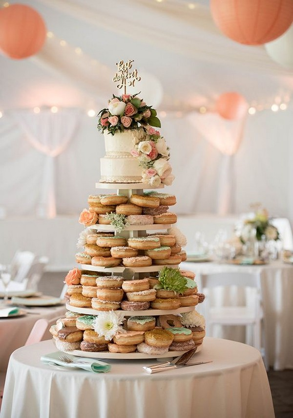 floral wedding cake with donut tower