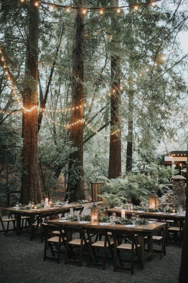 forest wedding reception ideas with lights