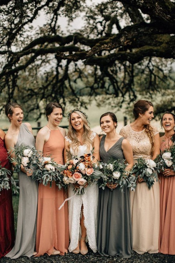 grey and dusty orange mismatched bridesmaid dresses