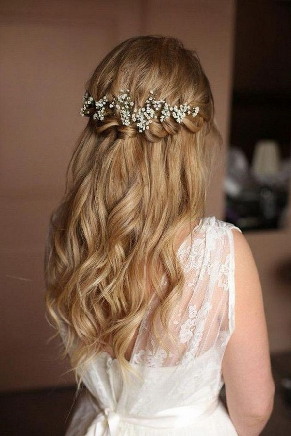 half up half down wedding hairstyle with baby's breath 2