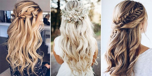 Half Up Half Down Wedding Hairstyles For Medium Length Hair: 20 Brilliant Half Up Half Down Wedding Hairstyles For 2019